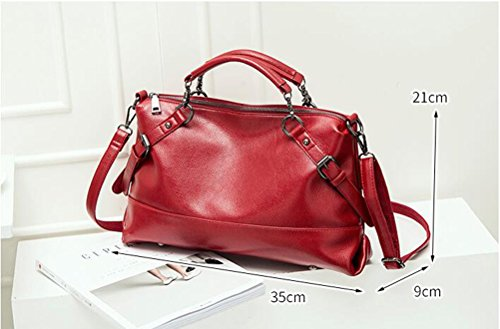Lihaer Klassisches Damen Leder Handtasche Mode Elegant Verstellbare Umhängetasche Multifunktions Schultertasche Schwarz