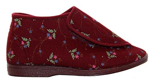 New Ladies Cinturino In Velcro Lavabile In Lavatrice Con Ampia Gamma Di Scarpe Da Ginnastica Diabetico Ortopedico Uk Dimensioni 3-8 Bordeaux Floreale
