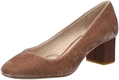 Cortefiel 2.g.m. Salon T.Med Ancho Tercipelo, Zapatos de Tacón con Punta Cerrada para Mujer