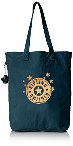 Kipling Hip Hurray 5, Shopper Donna, Blu (37Y Dark Teal), 40.5x40.5x14.5 cm (B X H X T)
