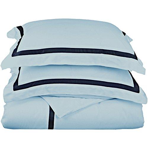 Impressions 300Fadenzahl 100% Baumwolle, Hotel Collection, 1-lagig, Full/Queen Bettbezug Set, schwarz mit grau, baumwolle, Light Blue/Navy Blue, King/Lime King - Baumwolle Ägyptische Hotel Sham