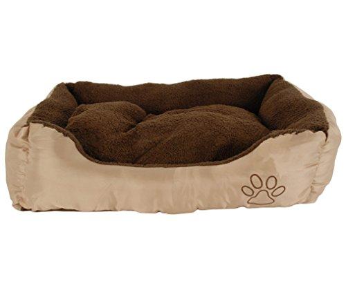 Unbekannt Haustierbett - Hundebett größe L - kuschelig warm mit Bodenkissen - Außenfarbe Braun - Außenmaße LxBxH ca. 75x58x19 cm - Perfekt für Hunde, Katzen und andere Haustiere