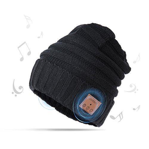 AIEKR Bluetooth Hat Stricken Mütze Hat mit Abnehmbar Lautsprecher und Hände-frei Mikrofon zum Winter Sports Fitness Exercise Workout (Schwarz) (Double-knit A-line)