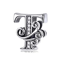 Solid 925 Sterling Silver with Cubic Stones, Complete A~Z Gift Options Alphabet Charm Letter Beads fit Pandora European Bracelets