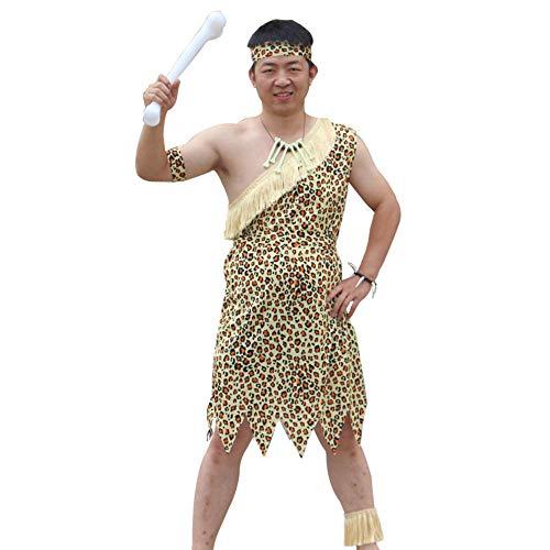 NiQiShangMao Halloween Kinder Leopard Savage Caveman Croods Feuerstein Primitive sexy indische Kleidung Kostüm Karneval Kostüme für Männer Phantasie (Caveman Kostüm Kinder)