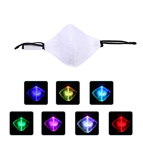 KOBWA LED Staubmaske 7 Farben Leuchtendes Licht Mund Maske LED Maske Perfekt für Weihnachtsgeschenke, Halloween, Kostüm Parteien ()