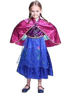 Katara - Il Vestito della Principessa Anna di Frozen, Costume da Principessa per Bambine, Abito da Regno di Ghiaccio...