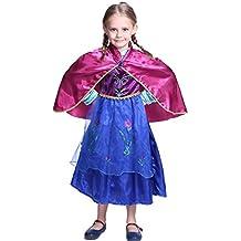 Frozen - Princesa Anna, vestido con manteleta para niños de 8-9 años, color azul / negro / rojo (Katara)