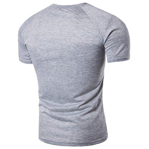 ZhiYuanAN Uomo Magliette Manica Raglan Con Decorazione A Bottone Tinta Unita Slim Fit T-Shirt Casual Selvaggio Tee Tops Grigio chiaro