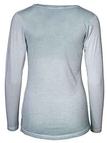 DAILY'S BELLA cold pigment dyed Damen Langarmshirt mit Rundhalsausschnitt und Knopfleiste aus 100% Bio-Baumwolle - soziale fair trade Kleidung, Mode vegan und nachhaltig Color glacier-blue, Size S - 2