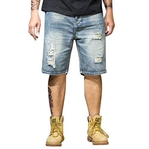 Pantalones Vaqueros Cortos Hombres Rotos Moda Color