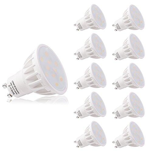 (10er Pack Naturweiß) LOHAS® Dimmbar 6Watt GU10 LED Lampen, Ersatz für 50Watt Halogenlampen, 500LM, 4000K, 120 Grad Abstrahlwinkel, LED Birnen, LED Leuchtmittel