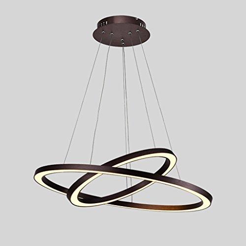 CWAIXXMM LED-Runde Kronleuchter 2 Lichtquellen Wohnzimmer Deckenleuchte Moderner Kronleuchter Schlafzimmer Lichter Verstellbare Höhe Farbtemperatur Einstellbar (Promiseless Dimmen, Mit Fernbedienung) (Moderner Runder Schnitt)