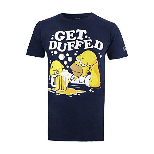 Simpsons Get Duffed Camiseta, Azul (Navy NVY), M para Hombre