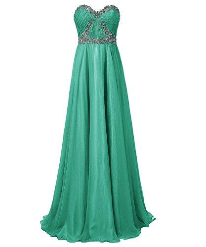 Dresstells, Robe de soirée Robe de cérémonie Robe de gala mousseline bustier en cœur longueur ras du sol avec paillettes Vert