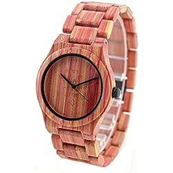 NectaRoy Handmade Round Wooden Watch Quartz Watch Pink Colorful Bamboo Wood Watches Japan Movement Wristwatches