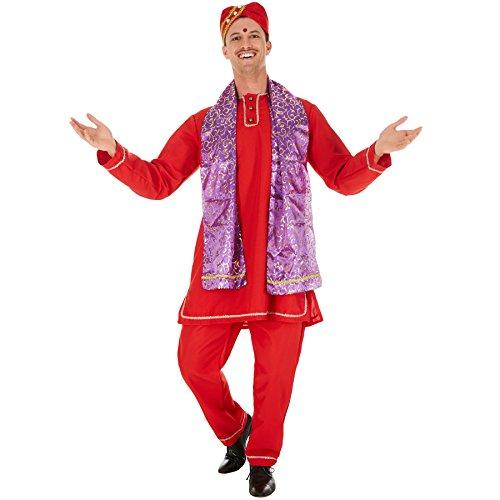 Für Herren Bollywood Kostüm - dressforfun Herrenkostüm Inder | Schöne Kurta mit Knopfleiste | Bequeme Hose mit Gummizug | inklusive Schal und Turban (XXL | Nr. 301029)
