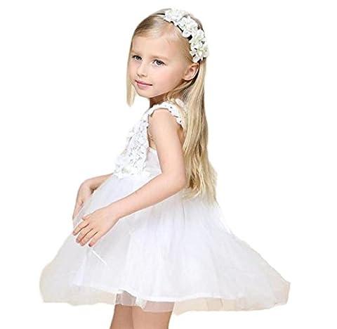 Tonsee Spitze Blumen Kleid Prinzessin Mädchen Kleider Sommer für 1-6 Baby-Mädchen Kleid Kleidung Kinder Baby Boutique Kleidung (1-2 Y, Weiß)