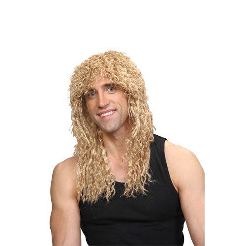 Männer Achtzigerjahre Rockstar-lange blonde Karneval- / Halloween-Perücke