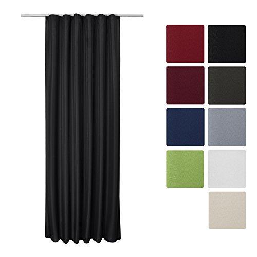 Beautissu Blickdichter Kräuselband-Vorhang Amelie - 140x245 cm Schwarz - Dekorative Gardine Universalband Fenster-Schal