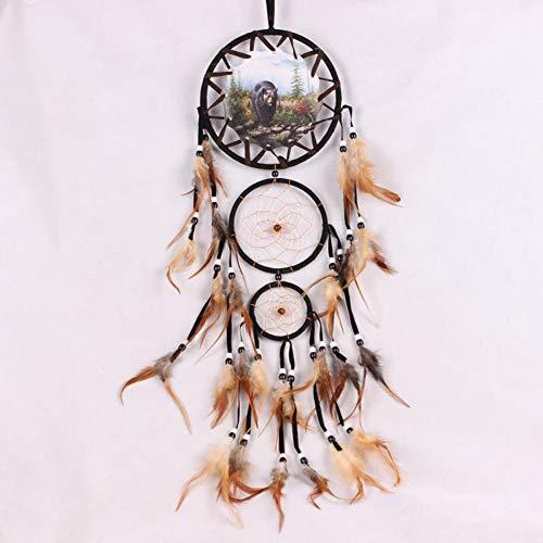 BDQZ Home Wandbehang Dekoration Wolf Muster Ornament Dream Catcher Mit Federn,Bear