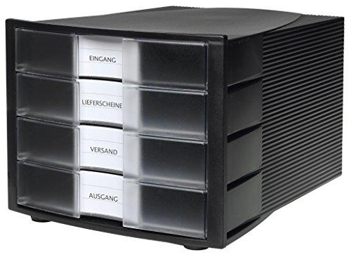 HAN Schubladenbox IMPULS/Stapelbares Ablagesystem mit 4 großen, geschlossenen Schubladen für DIN A4/C4 inkl. Beschriftungsschilder / 29,4 x 36,8 x 23,5 cm (BxTxH) / Schwarz/Transluzent-klar