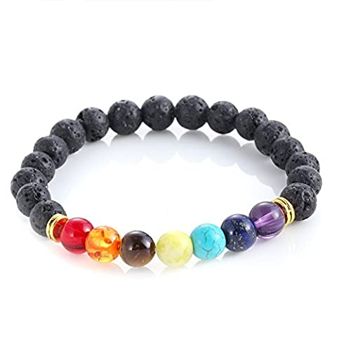 Lava Rock Perlen Armband Elastisch Chakra Stein Armband Armreif für