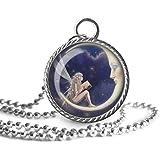 Collar de hada, luna, colgante de imagen de hadas, joyería de cristal cúpula, un regalo para ella.
