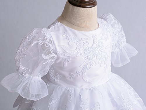 Cinda Baby Spitze Taufkleid Taufe Kleid und Mütze Weiß 62-68 - 3