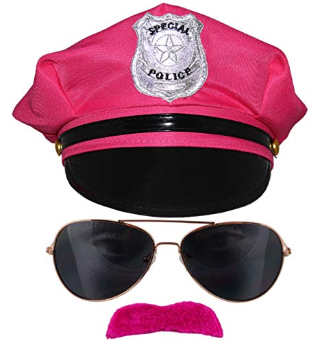Bad Taste pinkes 80er Kostüm Set Junggesellenabschied Polizei Mütze Sonnenbrille