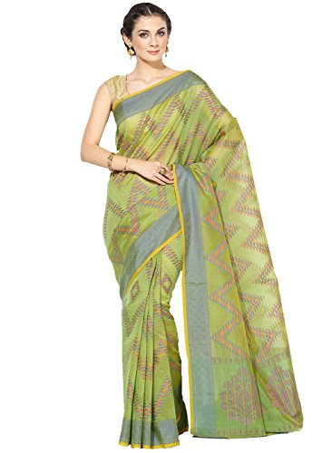 Banarasi Silk Works Supernet Cotton Saree With Blouse Piece(PTE104_Green_Free Size)