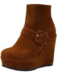 a2f23e8e5fe8 YE Bottes Courtes Boucles Chaude Bottines Plateforme Femme à Talons Hauts  Compensés Ankle Boots Woman Chaussures Hiver…