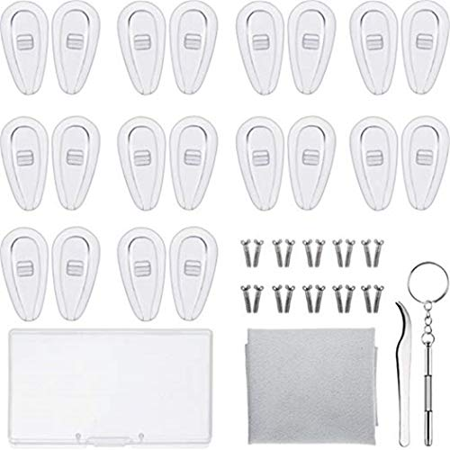 JUSTDOLIFE Brille Reparatur Kit Brille aus Silikon Nase Pad Schraube Pinzetten Tuch