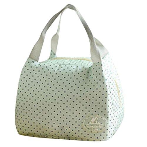 Coloré(TM) Sac à Déjeuner en Toile Tote Bento Portable Isotherme Lunch Bag Thermique isolé et froid pour Ecole Bureau Voyage Pique-nique (Vert)