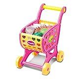 Einkaufswagen Spielzeug, Gusspower Supermarkt Warenkorb Simulation Shopping Trolley Spielzeug mit 14 Stücke von Obst, Gemüse, Lebensmittel, Rollenspiele Shoppingspaß für Kinder ab 3 Jahre (Rosa)
