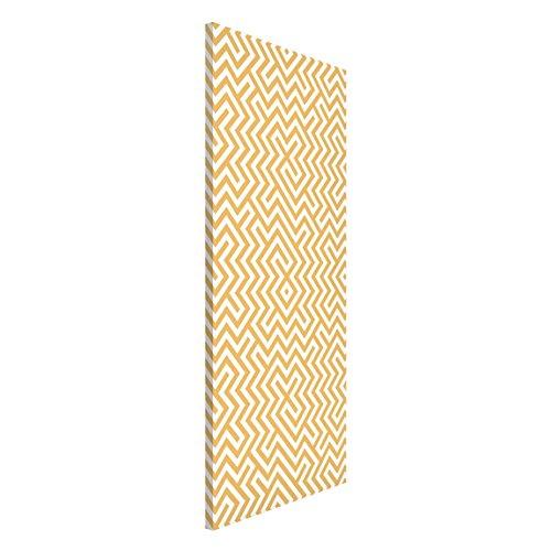 Apalis 108623 Magnettafel Geometrisches Muster Design Memoboard Hoch Metall Magnet Pinnwand Motiv Wand Stahl Küche Büro, 78 x 37 cm, gelb