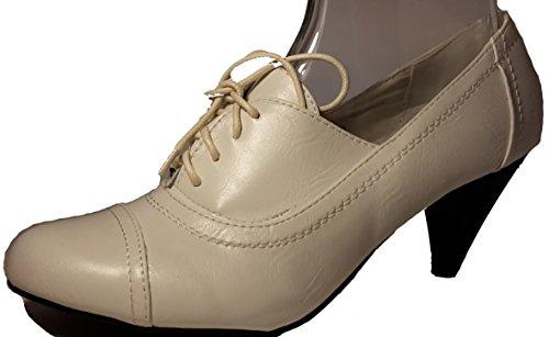 Schlicht-elegante Halbschuhe in Lederoptik, schwarz, dunkelblau, braun oder weiß, Schnürschuhe, Mokassins, Ballarinas, Damenschuhe, Modell 11094108001025, Schuh für Damen in topmodischem Look. Weiß mit schwarzem Absatz.
