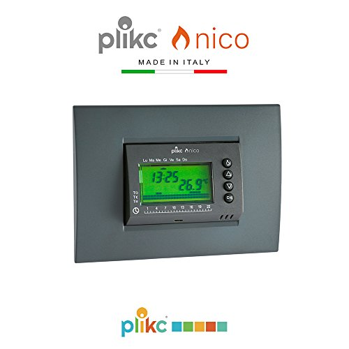 Cronotermostato digitale a batterie da incasso NICO - PLIKC PLK267602