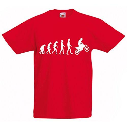 lepni.me Maglietta per Bambini/Ragazzi Evoluzione Motocross, Moto Sporca, Maglia da Moto, Abbigliamento da Corsa, Moto da Fuoristrada (12-13 Years Rosso Bianco)