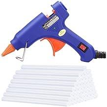 TopElek Mini Pistola de Silicona con 50 Piezas Barras de Pegamento Alta Temperatura Kit de Pistola de Pegamento Alternativa Flexible para Pequeños Proyectos de Bricolaje, Empaques, Reparaciones Rápidas y Limpias en Casa y Oficina (20W, Azul)