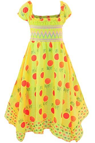GILLSONZ Neu604-3vDa Mädchen Kinder Sommer Freizeit Kleid (134/140, Gelb(604-3)) Kinder-sommer-kleid