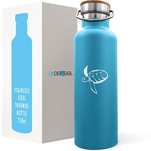 Undisposabl Caretta | Edelstahl Wasser Trinkflasche 750ml | Finanziert Plastiksammlung aus den Ozeanen | Doppelwandige Vakuum Isoliert