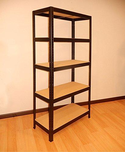 Metallregal 180x 75x 35mit 5Etagen, Schwarz, ohne Schrauben, dekorativ für Büro oder Zuhause. (Finish Bücherregal Schwarzes)