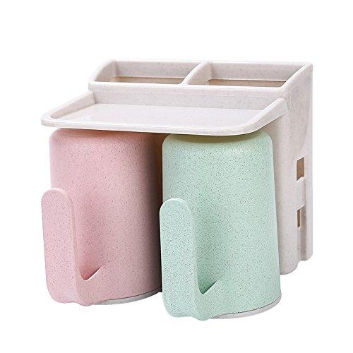 YASJIA 6 Racks Staubdicht Wand-Zahnbürstenhalter mit Mundwasser Tasse - Für den Bad Familien-Halter, für Erwachsene und Kinder, 2 Arten, Style 1