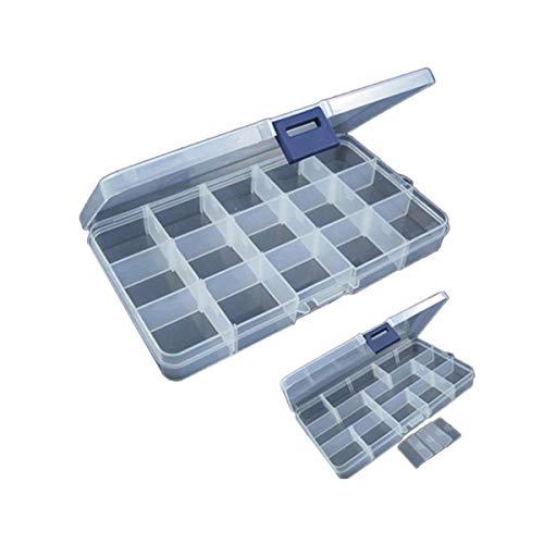FORH Utility Box Aufbewahrungskoffer Fishing Tackle Box Gerätekoffer mit Angelzubehör gefüllt Grundausstattung 15 Slots Einstellbare Kunststoff Fischköder Tackle Box (Weiß) (Tackle Box Damen)