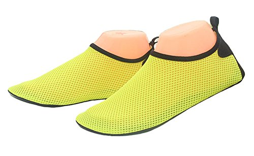 Fortuning's JDS Uomini Scarpe da Acqua Uomo Scarpe a Sole Scalzo asciutto rapido Aqua scarpe sportive Pelle Scarpe per Spiaggia immersione Yoga esercizio di immersioni Giallo
