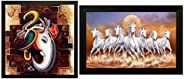 SAF 'Ganesha' Framed Painting (Wood, 12 inch x 12 inch) & 'Seven Lucky Running Vastu Horses