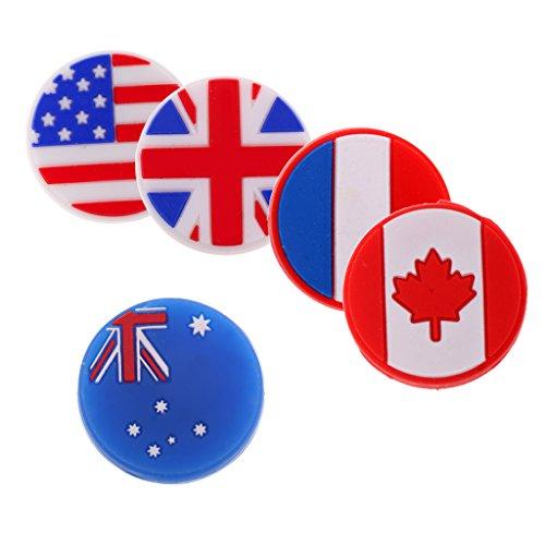 MagiDeal Nationalflagge Muster Tennisschläger Stoßdämpfer Tennis Dämpfer, 5 Stück / 6 Stück - 5pcs gemischte Flagge