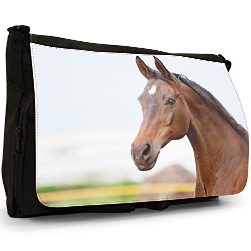 Elegante, motivo: cavalli, misura grande, colore: nero, Borsa Messenger-Borsa a tracolla in tela, borsa per Laptop, scuola Nero (Brown Bay Horse)