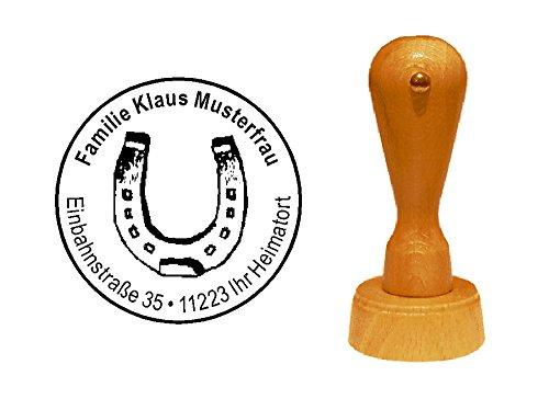 Stempel Holzstempel Motivstempel « HUFEISEN » mit persönlicher Adresse - Pferde Reiten Glück Reitsport Reiterhof